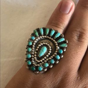 Large silver ring with small Navajo stones